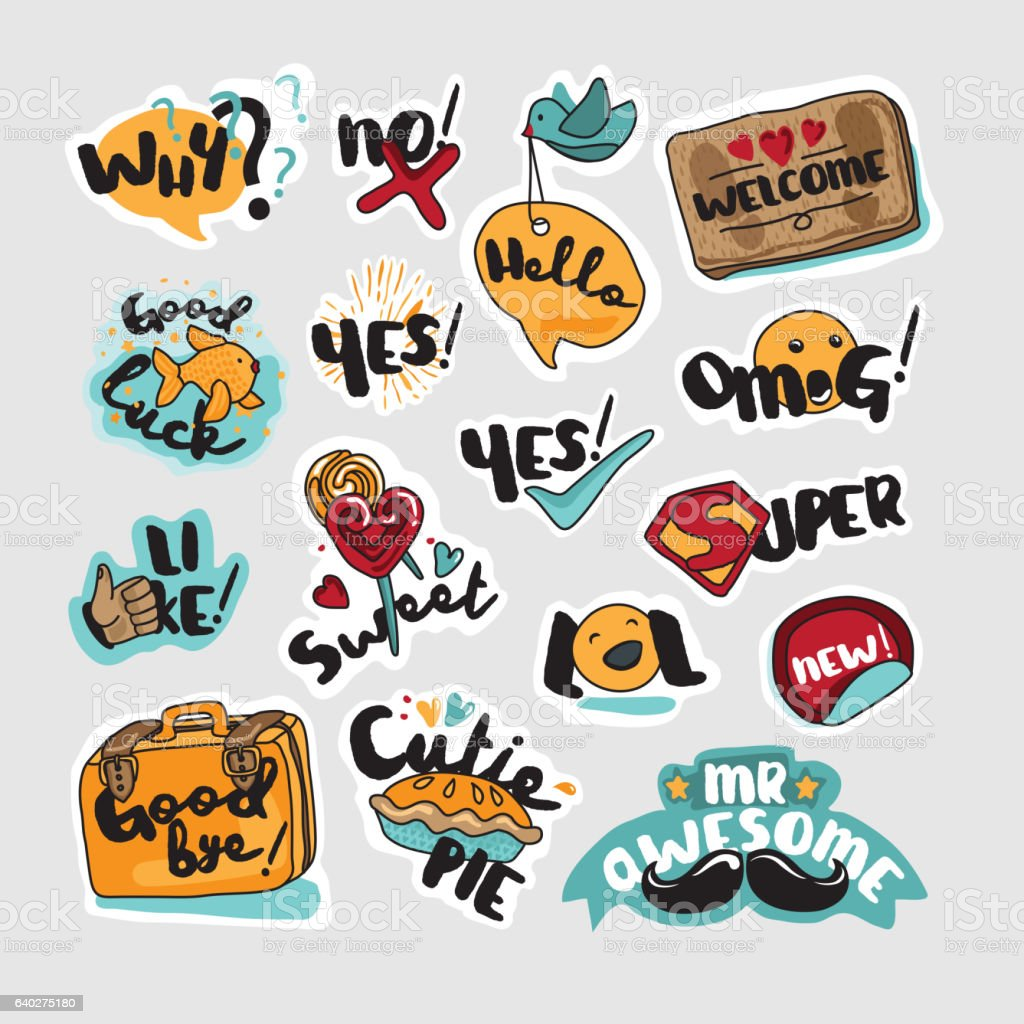 Set of stickers and signs for everyday communication vector art illustration