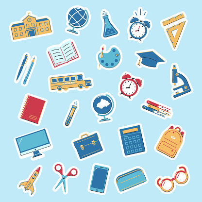 Set of stickers back to school. Educations icons on a blue background.