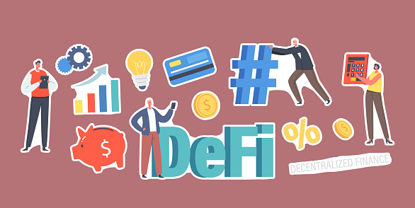Set of Stickers DeFi, Decentralized Finance Theme. Grow Data Chart, Light Bulb, Piggy Bank and Percent, Tiny Businessmen