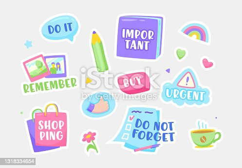 istock Set of Stickers Do not Forget, Important, Urgent and Buy. Shopping, Remember and Do It Notification Sticky Symbols 1318334654