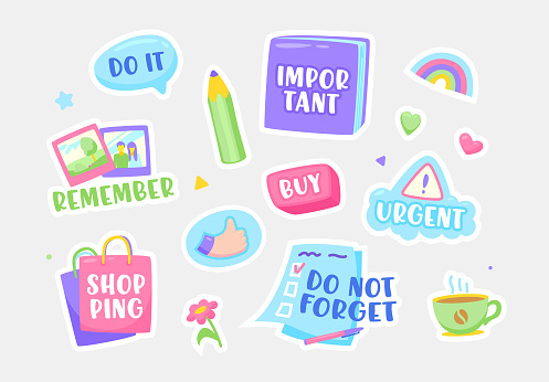 Set of Stickers Do not Forget, Important, Urgent and Buy. Shopping, Remember and Do It Notification Sticky Symbols