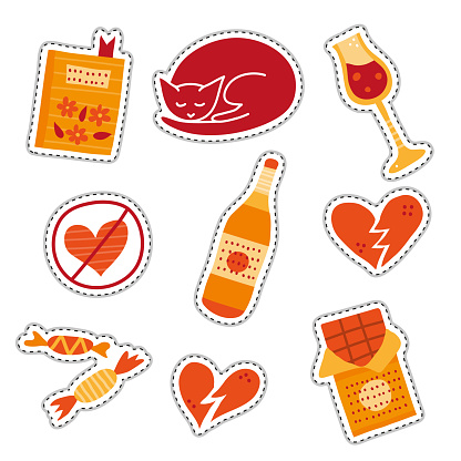 Set of stickers for Anti Valentine's day.