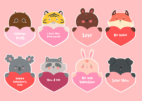 Set of stickers for Valentine s Day with animals and hearts. Vector graphics.