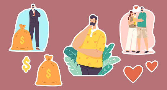 Set of Stickers Men Choice. Character Choose between Career and Family. Businessman with Money Sack, Father with Child