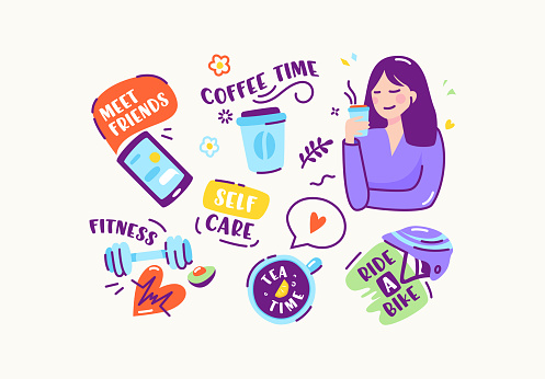 Set of Stickers or Icons in Doodle Linear Style. Meet Friends, Coffee Time, Fitness, Self Care, Ride a Bike, Tea Time. Smartphone