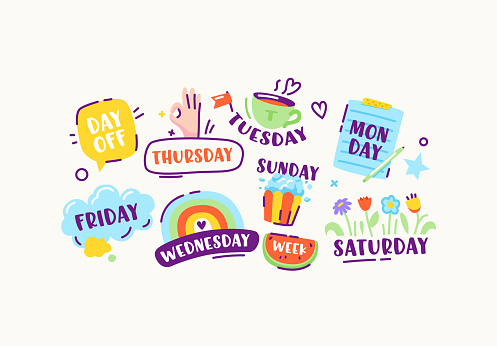 Set of Stickers or Icons of Week Days Sunday, Monday, Tuesday and Wednesday, Thursday and Friday or Saturday, Day Off