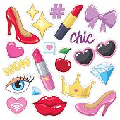 Set of cute vector illustrations. Stickers (badges) pack for girls. High heel shoes, bow, sunglasses, diamonds, lipsticks, lips, crown, cherry.