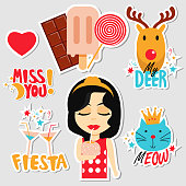 Set of stickers, pins, patches and badges vector illustration. Planner stickers. Flat design cute stickers for mobile messages, chat, social media, online communication, networking, web design