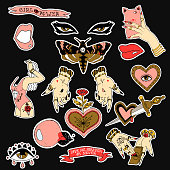 istock Set of stickers, pins, patches and handwritten notes collection in cartoon. Hands, mole, heart, eye and letterings. Be my babe. Not your babe. Print on tshirts and other materials. 869041618
