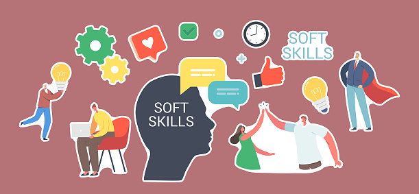 Set of Stickers Soft Skills in Business. Characters Communication, Human Head, Office Workers Empathy, Idea Development or Education at Work. Colleagues Give Five. Cartoon People Vector Illustration