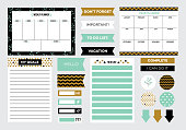Set of stickers and schedules to organize planner, cartoon vector illustration isolated on white background. Templates for timetable diary and to do list.