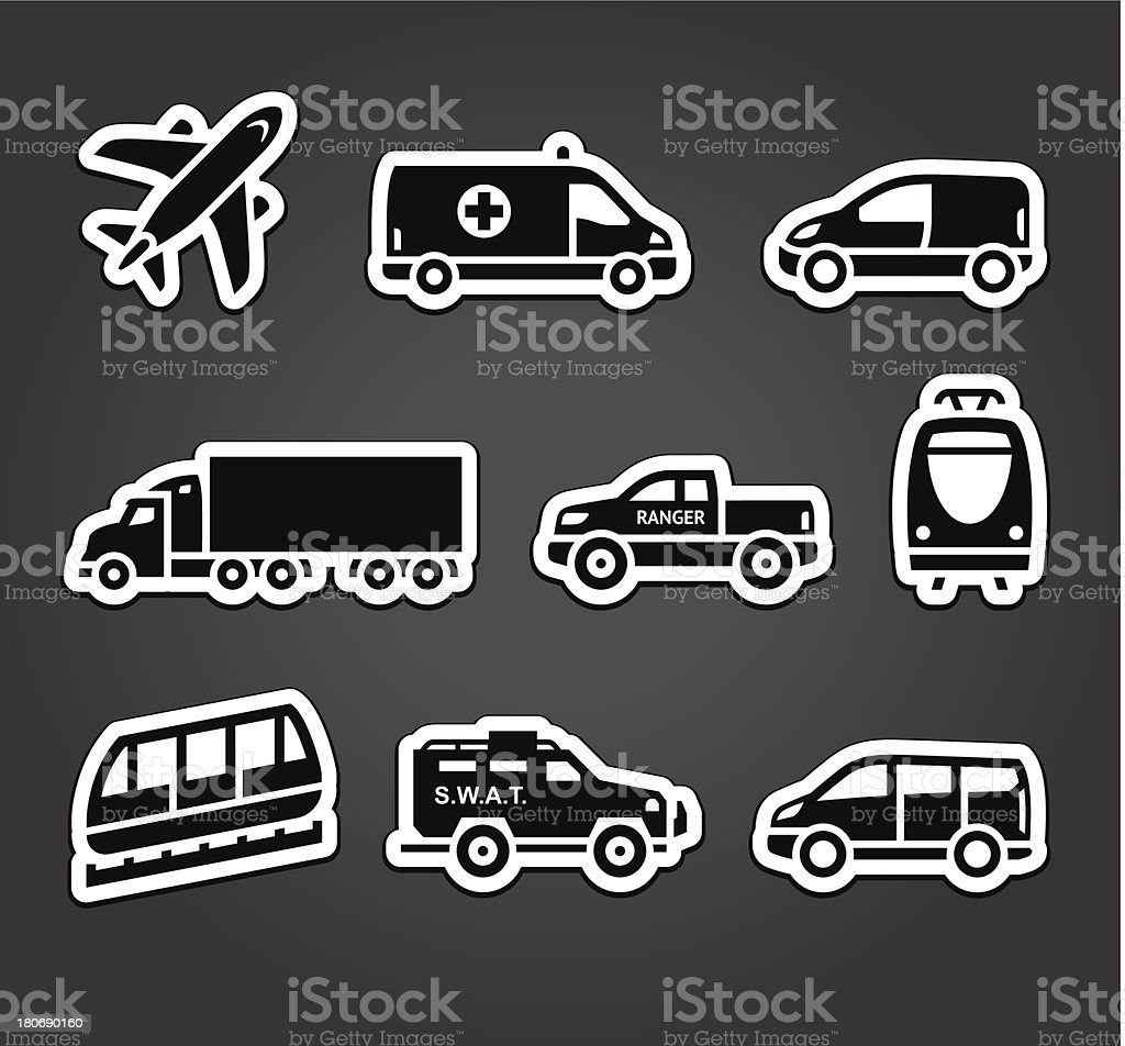 Set of stickers, transport icons royalty-free stock vector art