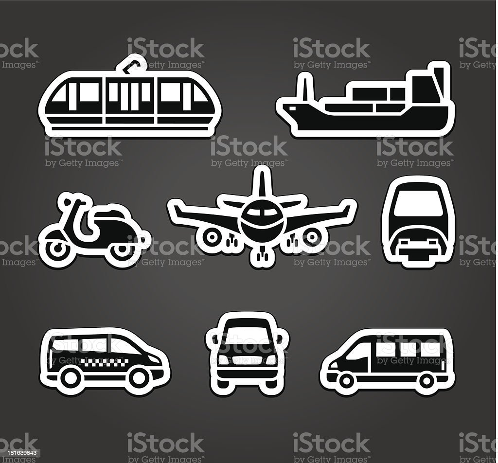 Set of stickers, transport signs royalty-free stock vector art