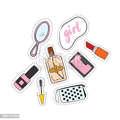 Fashion accessories patches set. Design kit of various accessory stickers or badges lipstick, cosmetics, perfume, shoe.
