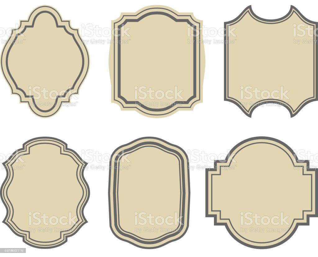 set of stickers, vintage frames vector art illustration