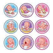 Set of stickers with babies.