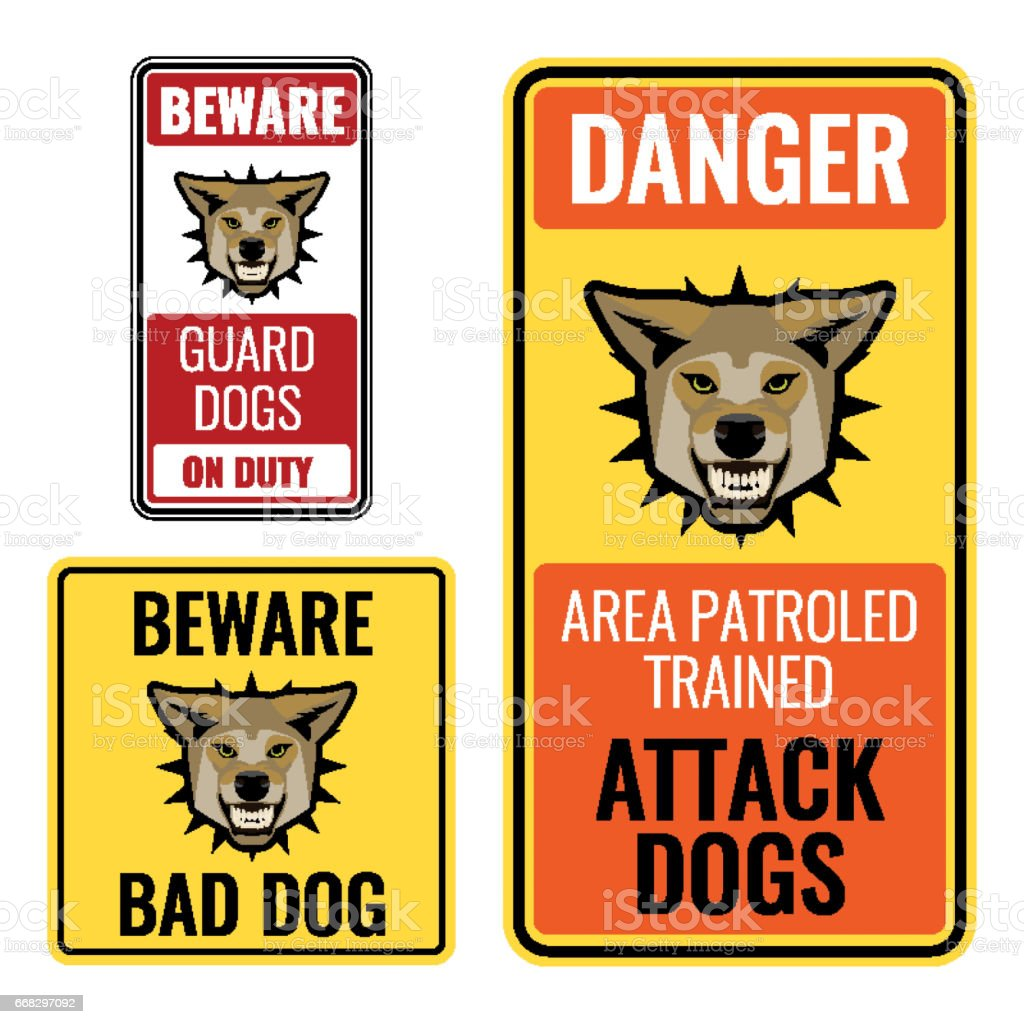 Set Of Stickers With Beware Bad Dog Signs Vector Illustration Stock