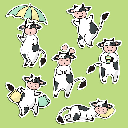 Set of stickers with cute cow
