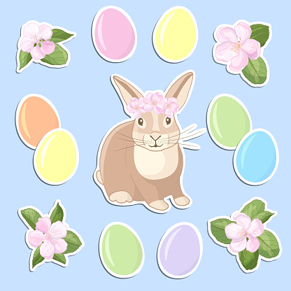 Set of stickers with Easter eggs, rabbit and flowers