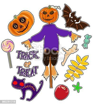 Colorful vector set of stickers/ badges/ icons/ patches/ design elements with pumpkin and cat, sweets, bat, scarecrow, skeleton hand and text trick or treat on white background. Badges of the holiday of Halloween.