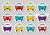 Set of stickers with funny cartoon cars on a transparent background. Vector illustration