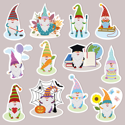 set of stickers with funny cute dwarves, vector illustration, cartoon style