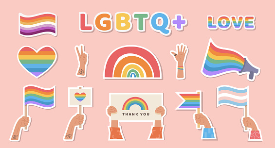 Set of stickers with LGBTQ symbols. LGBT, transgender and lesbian flag. Rainbow heart. Hands with placard. Pride month celebration. Gay parade. Flat style icons for print.
