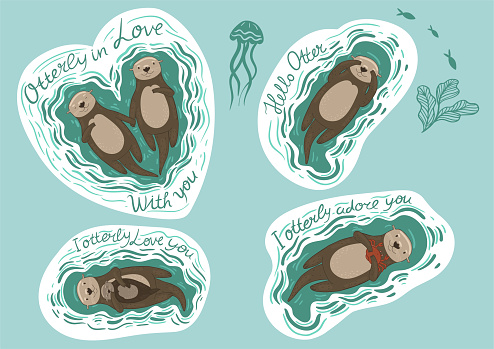 Set of stickers with sea otters and inscriptions. Vector graphics.