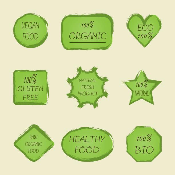 本文 100% ビーガン ステッカー セット エコ、グルテン フリー、天然の新鮮な製品、生の有機製品、バイオ、健康食品。 ベクターアートイラスト