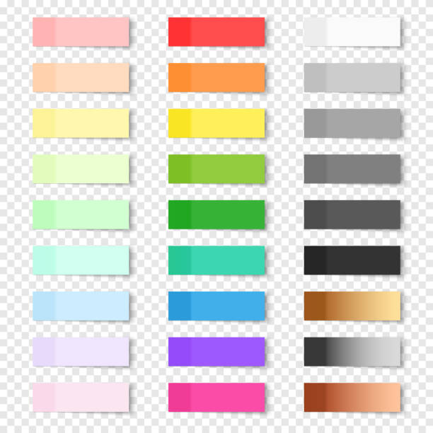 set of sticky notes on transparent background - post it notes stock illustrations