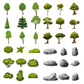 A set of stones, trees and bushes of landscape elements for the design of the garden, park, games and applications.