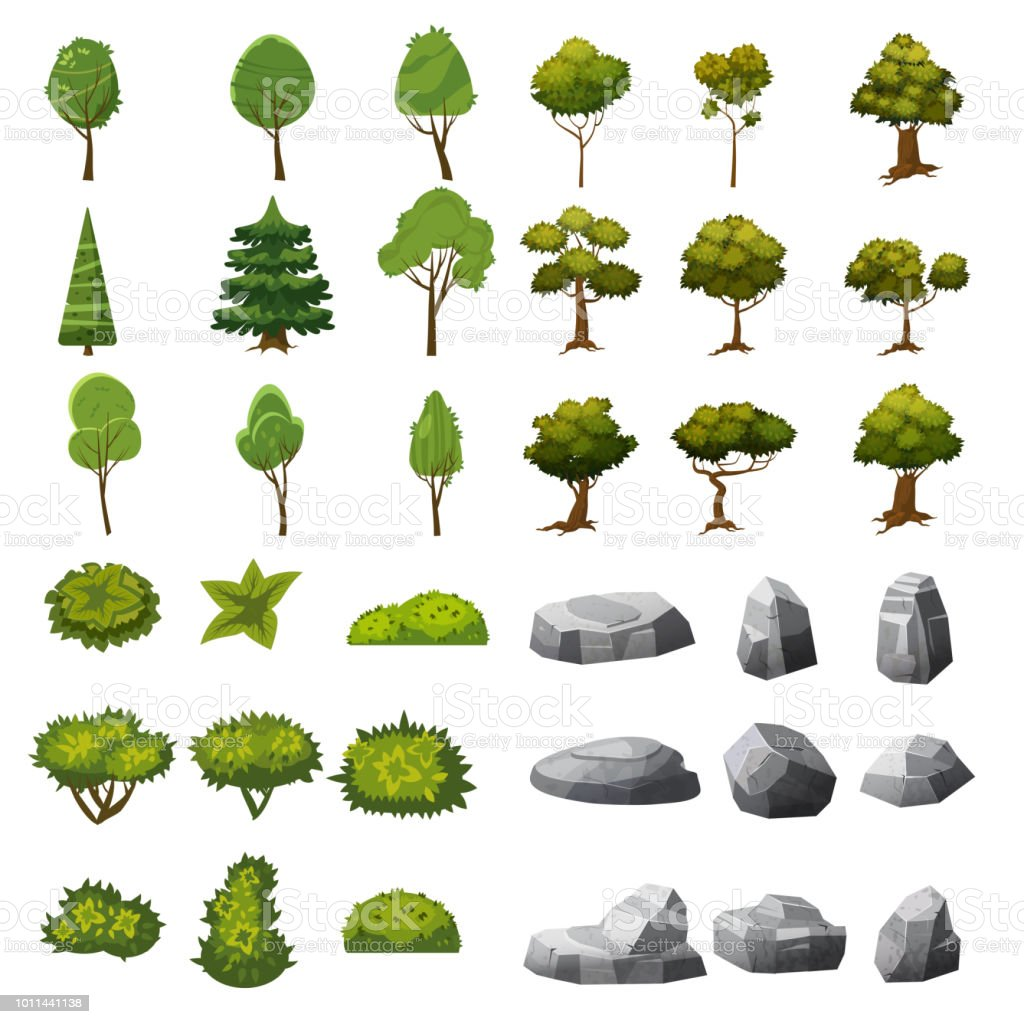 A set of stones, trees and bushes of landscape elements for the design of the garden, park, games and applications. Vector Graphics, cartoon style, isolated - illustrazione arte vettoriale