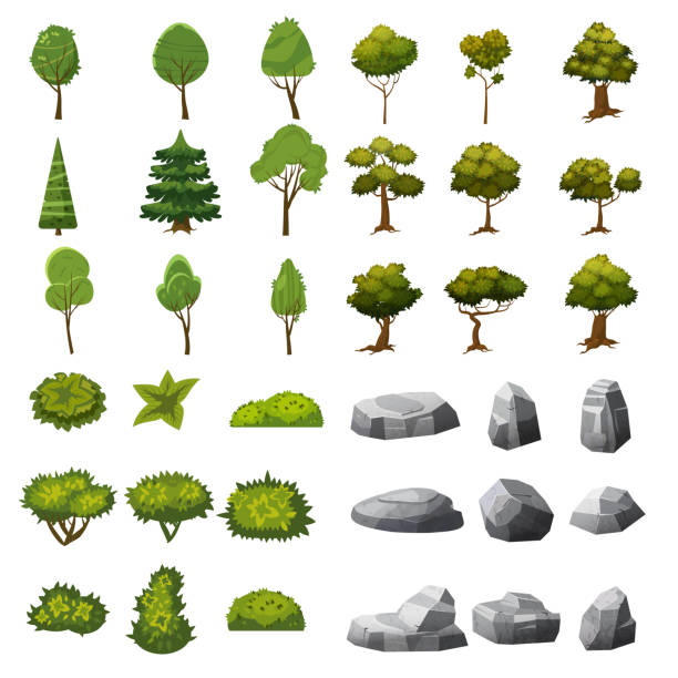a set of stones, trees and bushes of landscape elements for the design of the garden, park, games and applications. vector graphics, cartoon style, isolated - architecture silhouettes stock illustrations