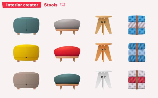 satz von hocker für heim und büro-design. cartoon-vektor-illustration - winkelküche stock-grafiken, -clipart, -cartoons und -symbole