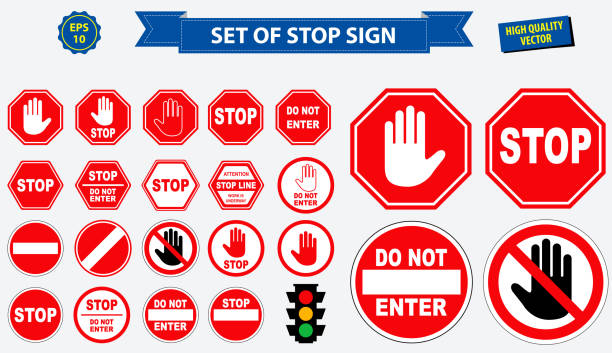 stockillustraties, clipart, cartoons en iconen met set stopbord. - stopbord