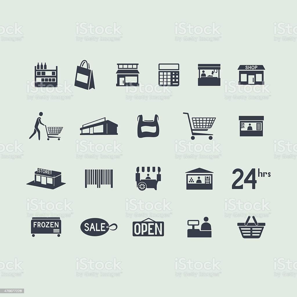 Set of store icons vector art illustration