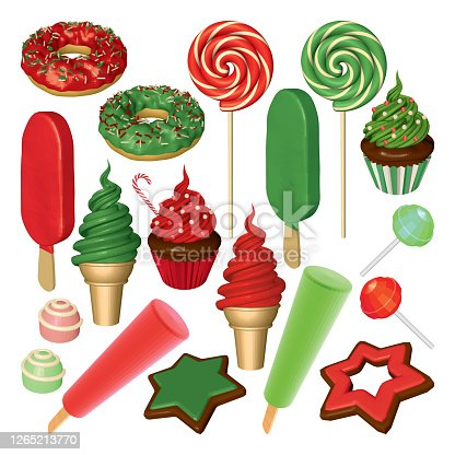 istock Set of Strawberry and Mint Sweets and Candies 1265213770