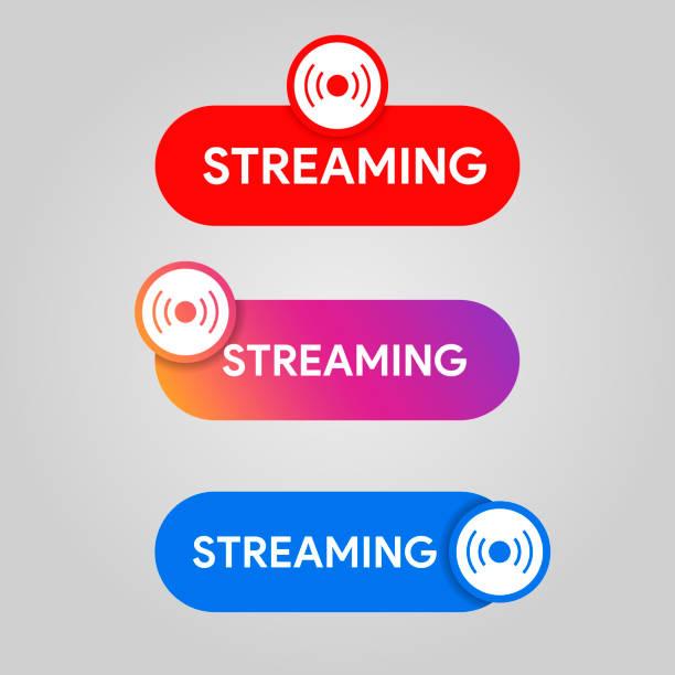 набор значка потоковой передачи. социальные медиа стиль жить, вещание, онлайн знак потока. youtube, instagram, значок цвета facebook.  скорость музыкальн - instagram stock illustrations