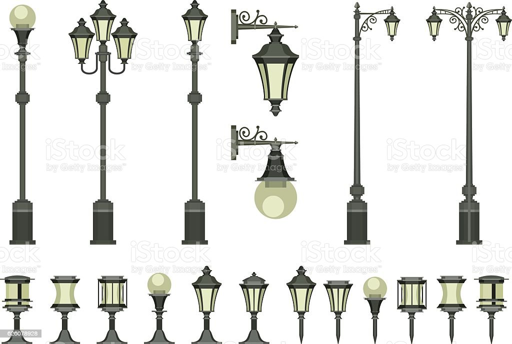 set of street lamps vector art illustration