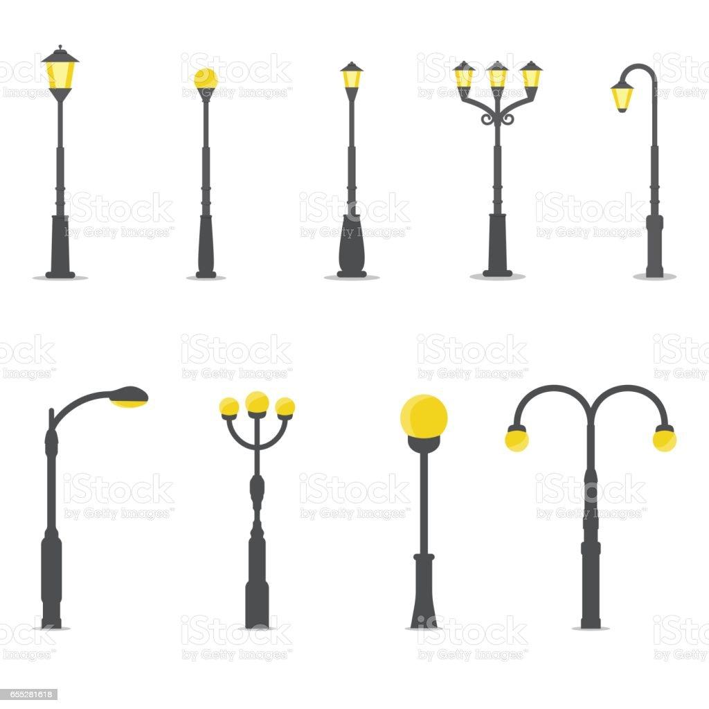 Set of street lamps vector art illustration