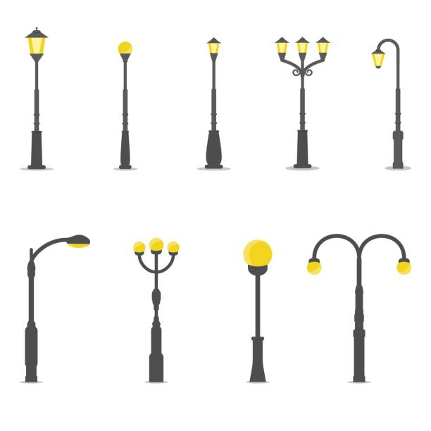 stockillustraties, clipart, cartoons en iconen met set van lantaarnpalen - straatlamp