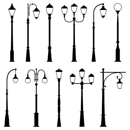 Set of street lamps, vector illustration