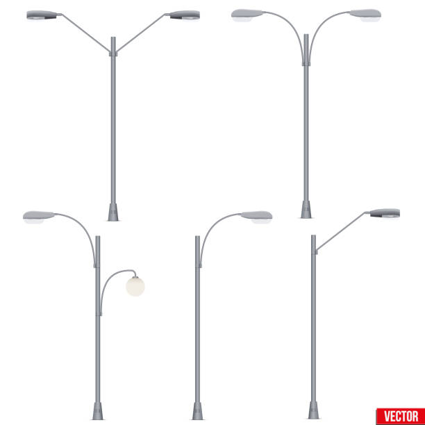 stockillustraties, clipart, cartoons en iconen met set van straat licht lamp post geïsoleerd - straatlamp