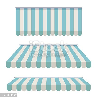 A set of striped awnings, canopies for the store. Awning for the cafes and street restaurants. Vector illustration isolated on white background
