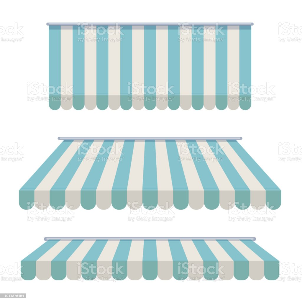 A set of striped awnings, canopies for the store. Awning for the cafes and street restaurants. Vector illustration isolated on white background. vector art illustration