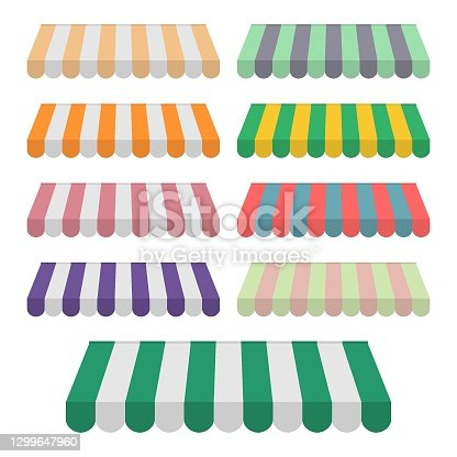 Set of striped awnings for shop, marketplace, cafes and street restaurants. Stripe canopy icon. Striped sunshade or tents. Vector illustration