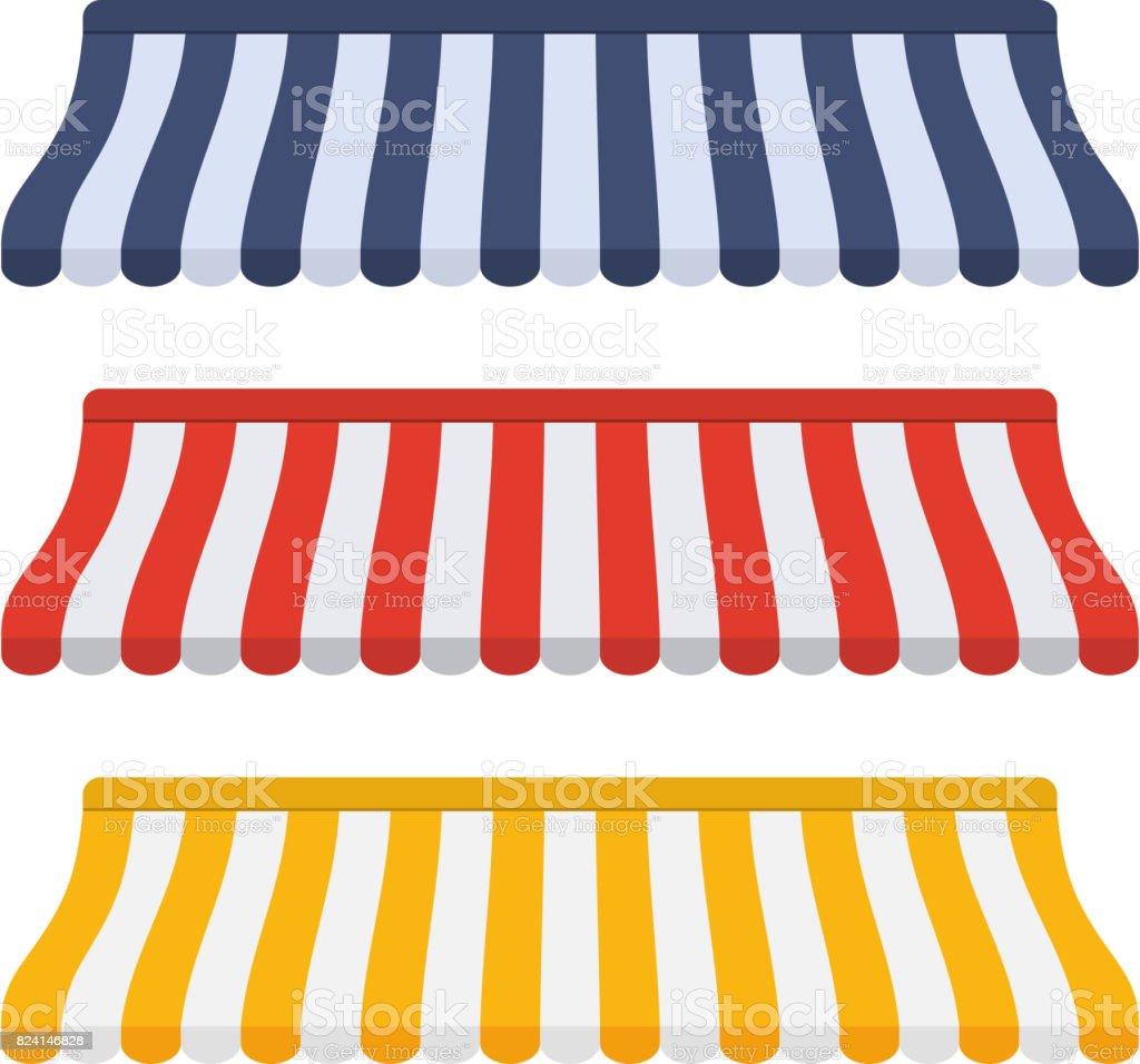 Set of striped awnings for shop vector art illustration