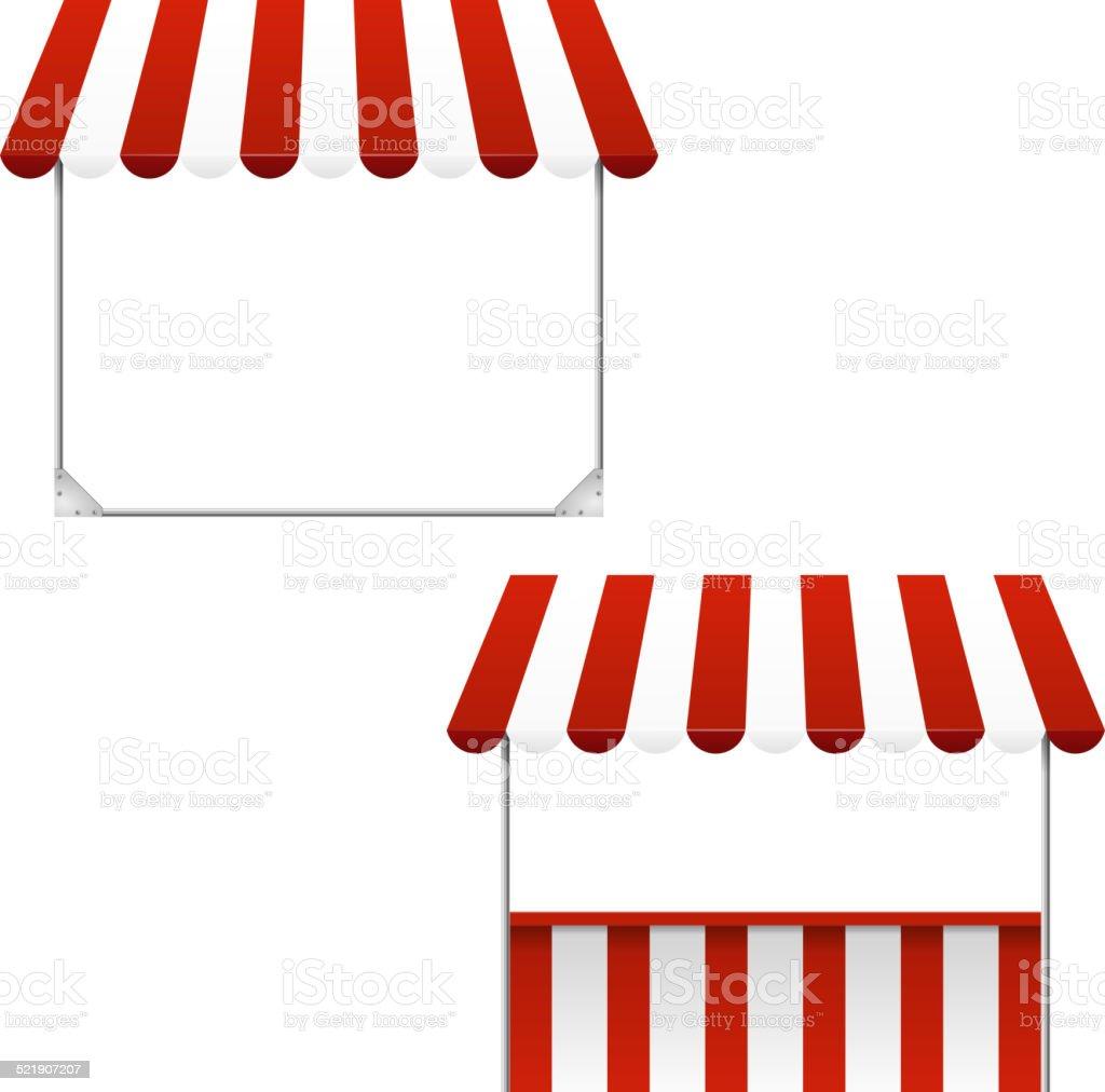 Set of striped awnings vector art illustration