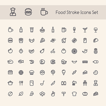 Set Of Stroke Food Icons Stock Illustration - Download Image Now