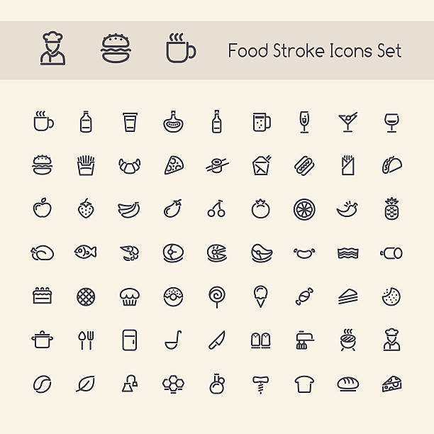 Set of Stroke Food Icons Set of Stroke Food Icons. Isolated on White Background. Clipping paths included in additional jpg format. bread designs stock illustrations